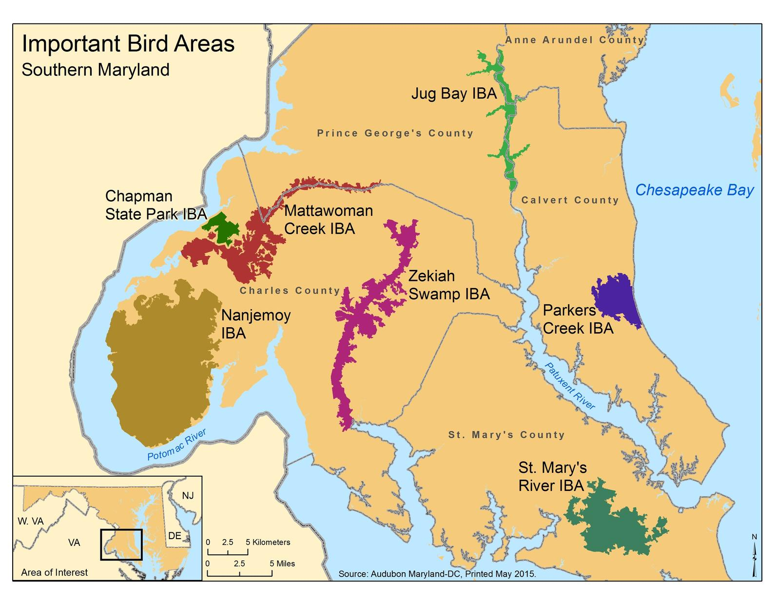 Map Of Southern Maryland Southern Maryland Important Bird Areas Inform Land Use Planning  Map Of Southern Maryland